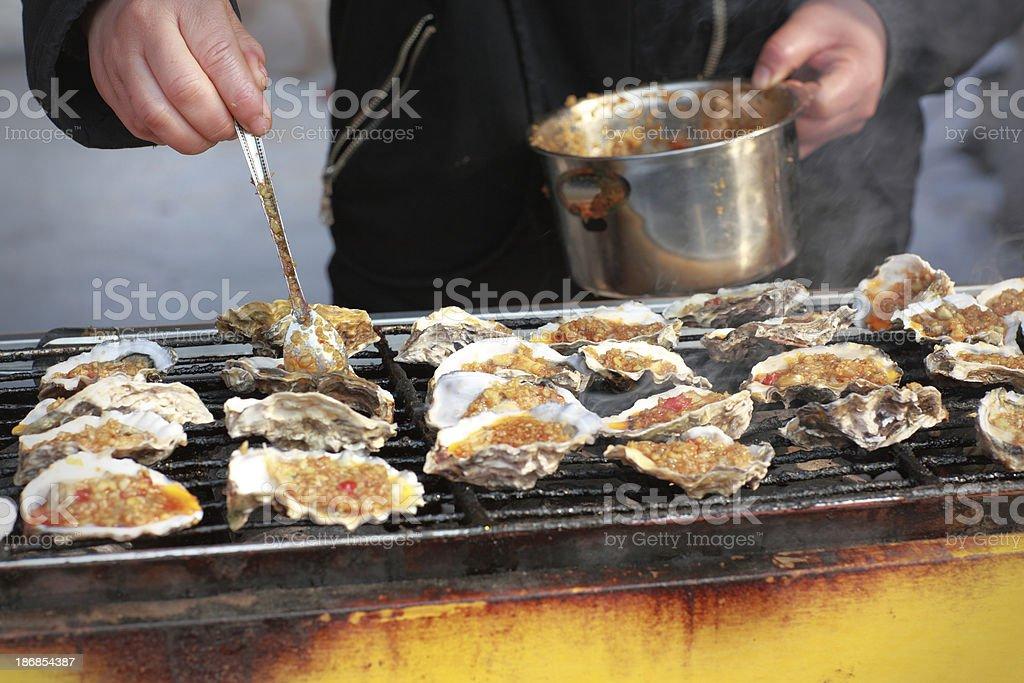 Oysters on the Grill royalty-free stock photo