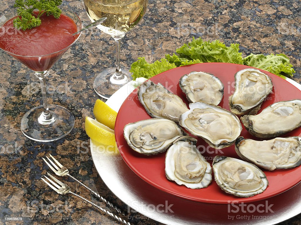 Oysters on the half shell stock photo