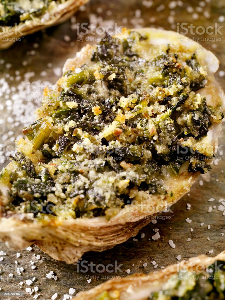 Oysters Rockefeller stock photo