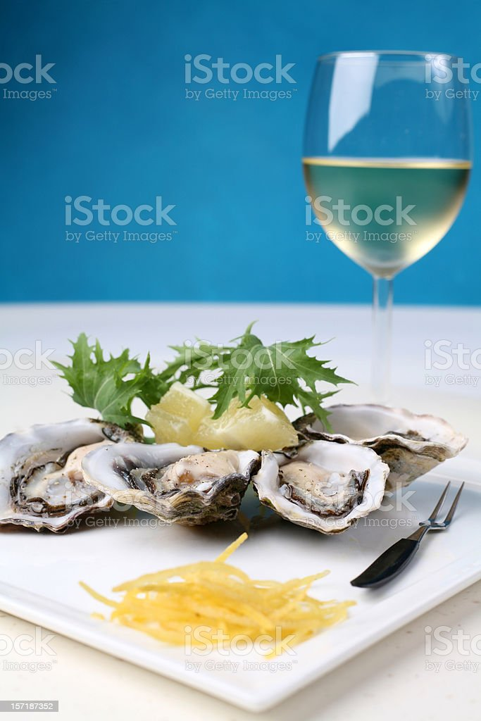 Oysters with White wine royalty-free stock photo