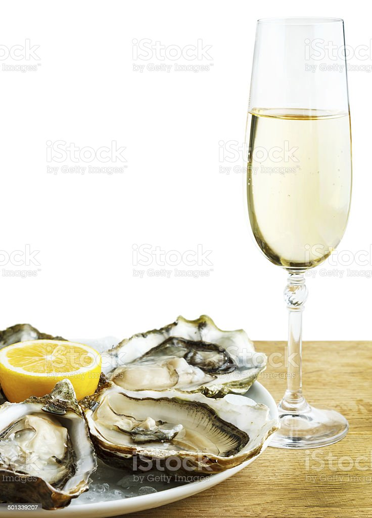 Oysters with wine stock photo