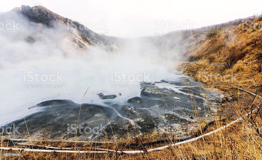 Oyunuma hot-water marsh, Noboribetsu, Hokkaido stock photo