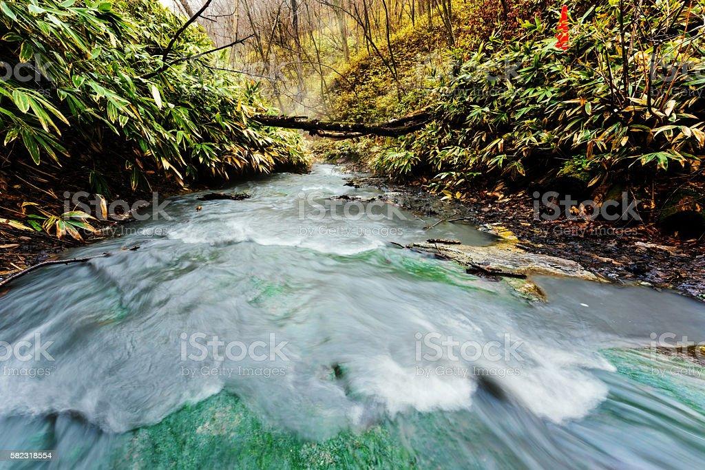 Oyunumagawa Hot spring flowing water, Noboribetsu stock photo