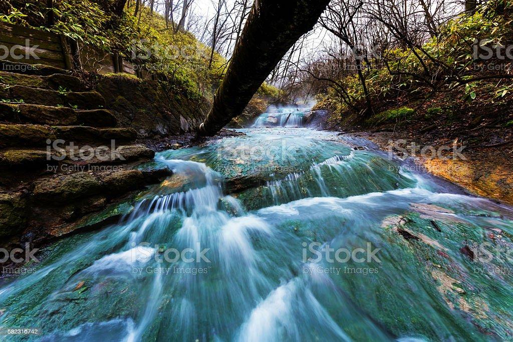 Oyunumagawa Hot spring scenics, Noboribetsu stock photo