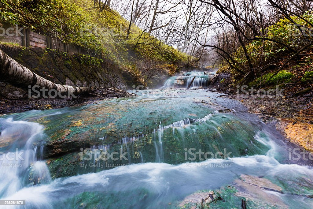 Oyunumagawa Hot spring water stream, Noboribetsu stock photo
