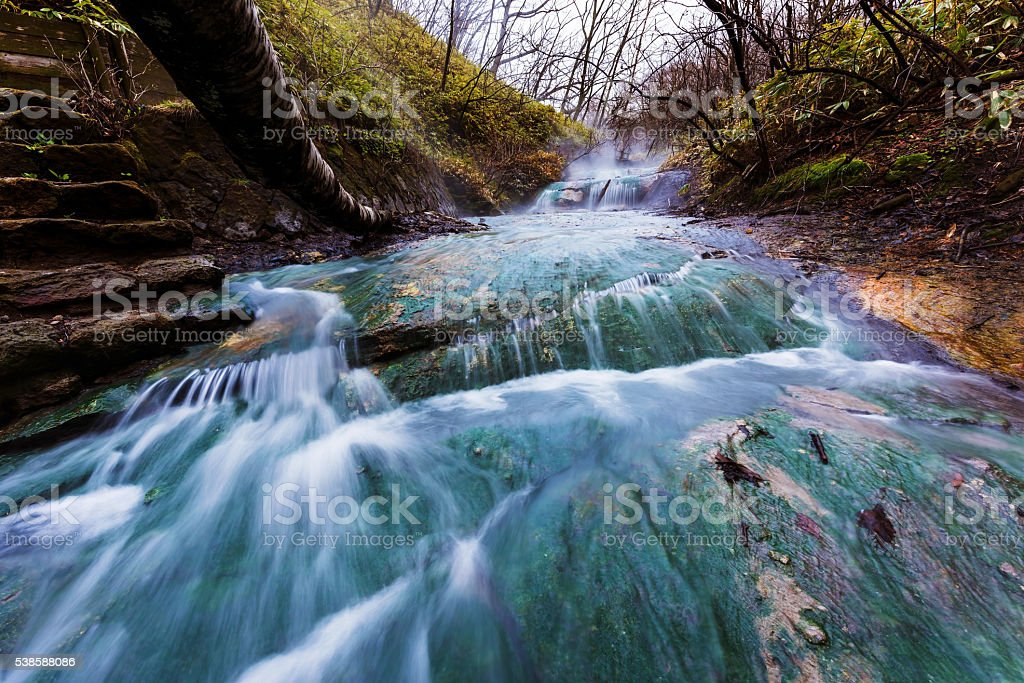 Oyunumagawa Hot spring waterfall, Noboribetsu stock photo