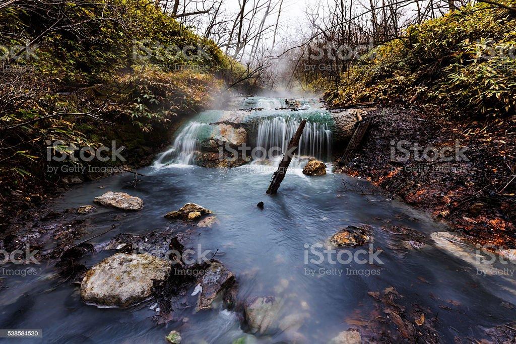 Oyunumagawa natural foot bath waterfall stock photo