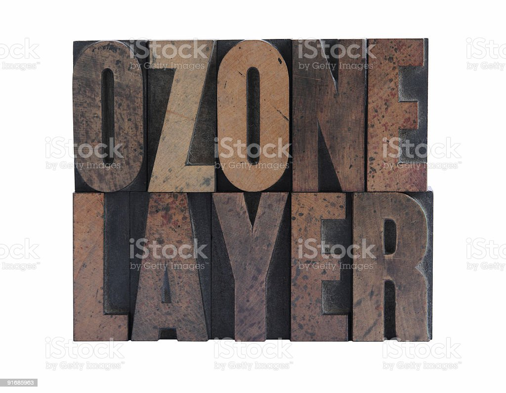ozone layer in letterpress wood type royalty-free stock photo