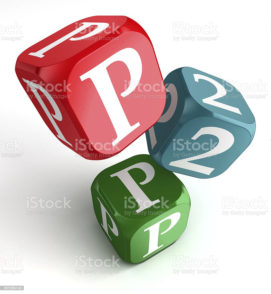 p2p word on red blue and green dice cube stock photo