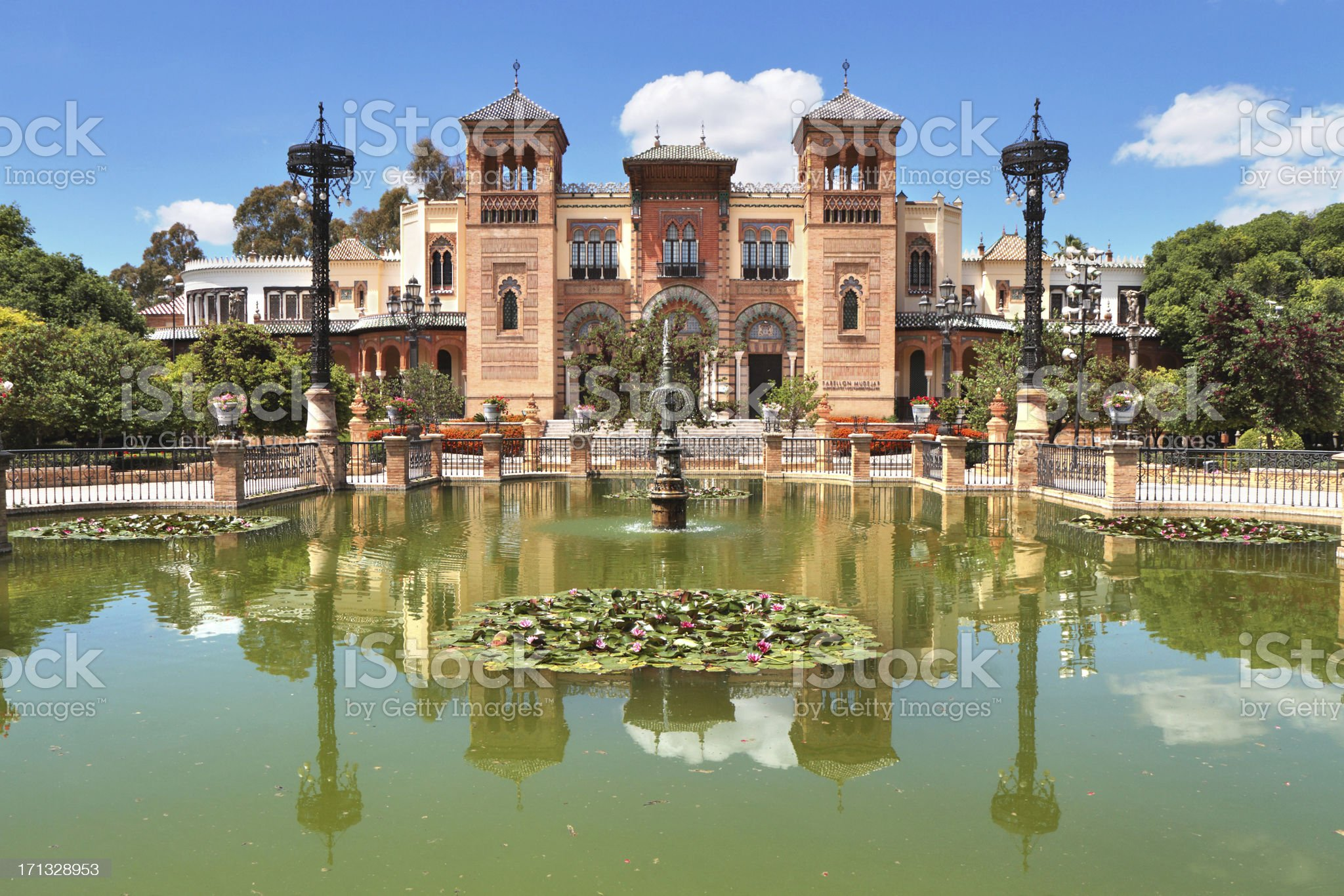 Pabellón Mudéjar, Parque de María Luisa, Seville, Spain royalty-free stock photo