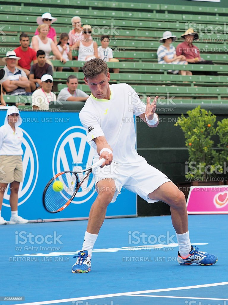 Pablo Carreno Busta of Spain hits a forehand stock photo