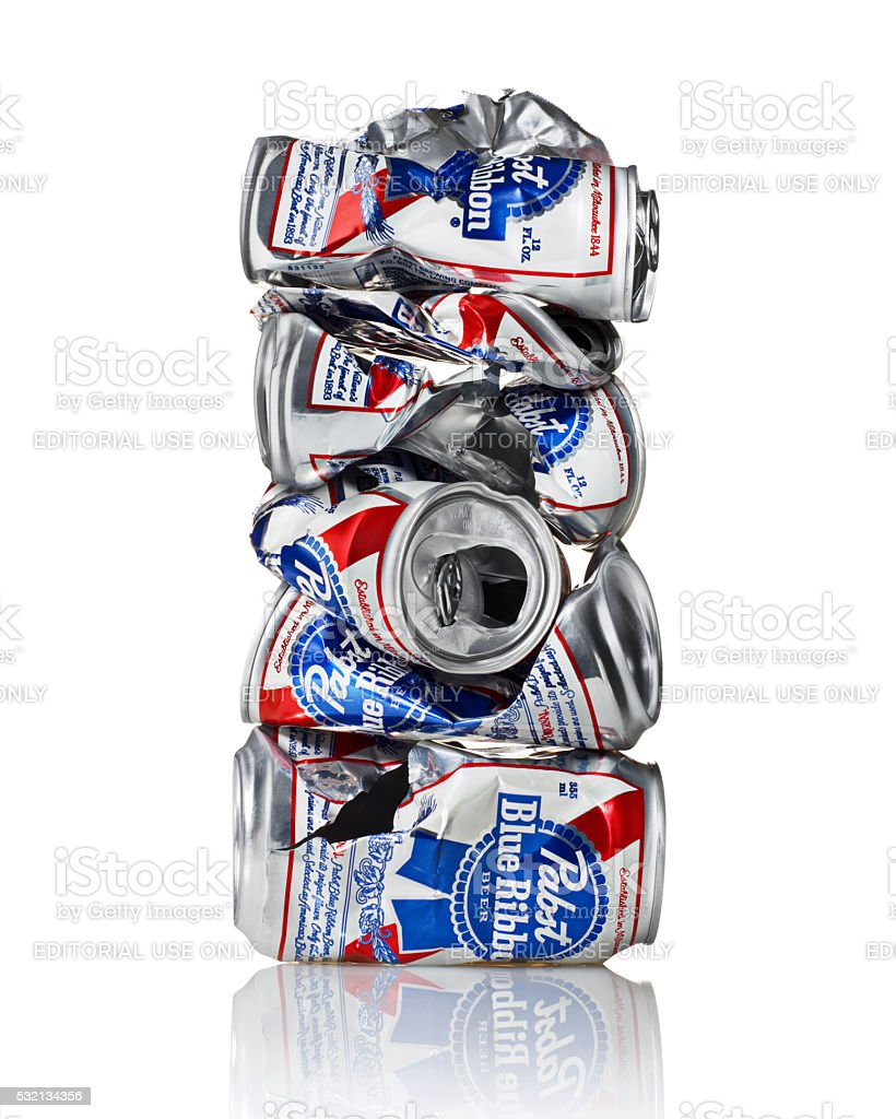 Pabst Blue Ribbon Crushed Six Pack Stack stock photo