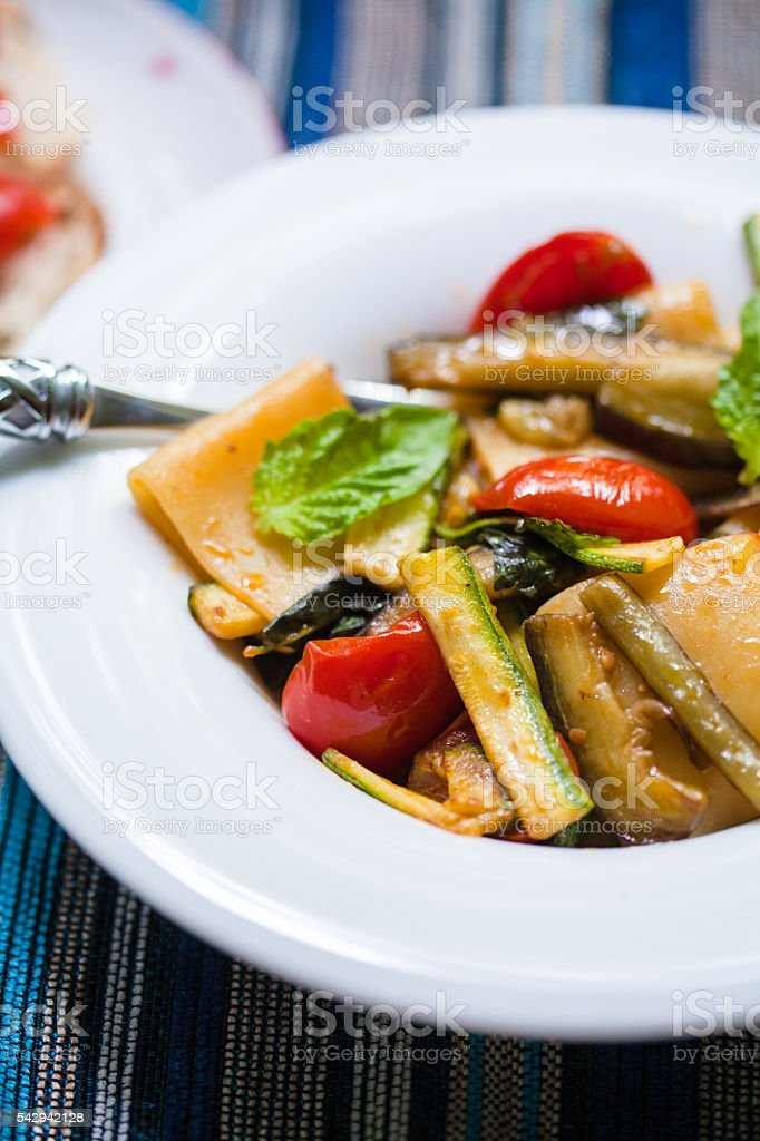 Paccheri Pasta with Vegetables stock photo