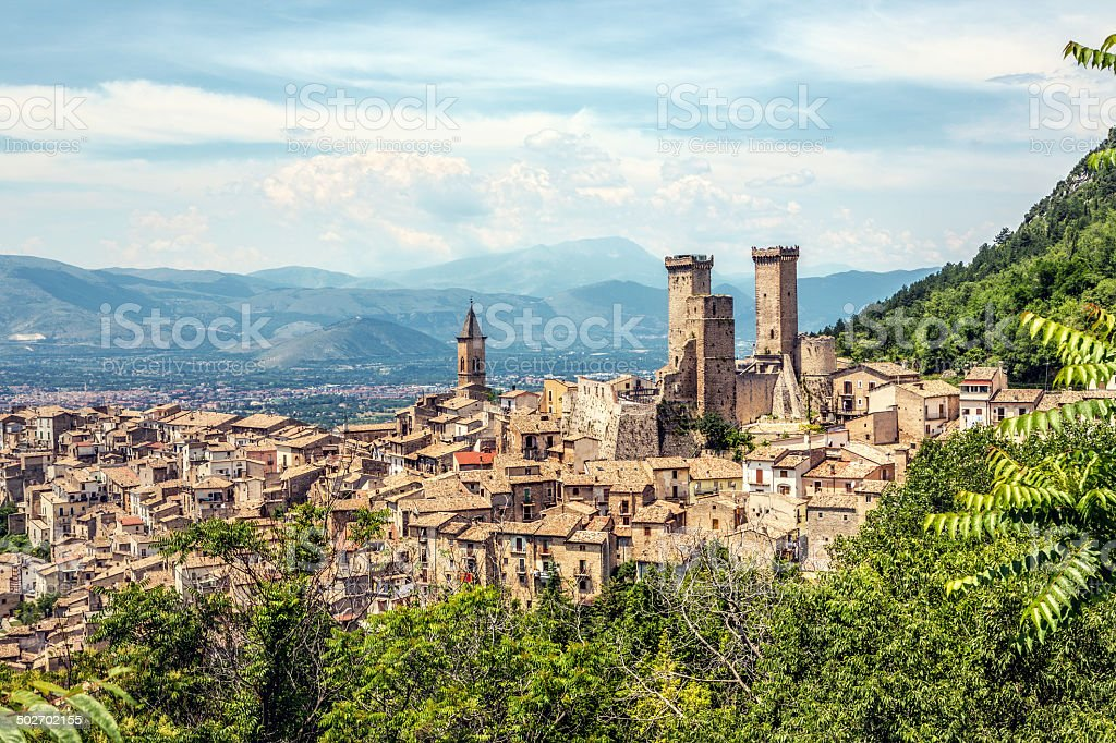 Pacentro skyline in the summer, Abruzzi Italy stock photo