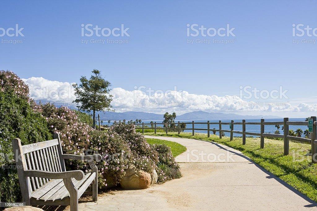 Pacific Coast Bench stock photo