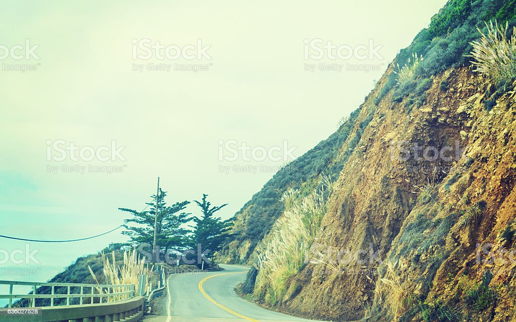 Pacific coast highway in vintage tone stock photo