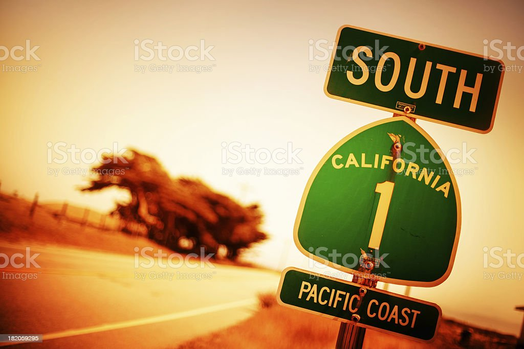 Pacific Coast Highway Road Sign stock photo