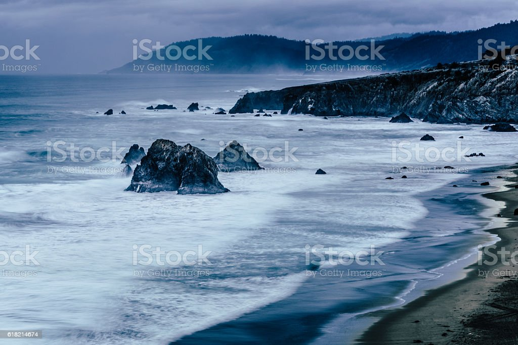 Pacific coastline after storm, Westport, California USA stock photo