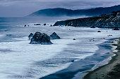 Pacific coastline after storm, Westport, California USA