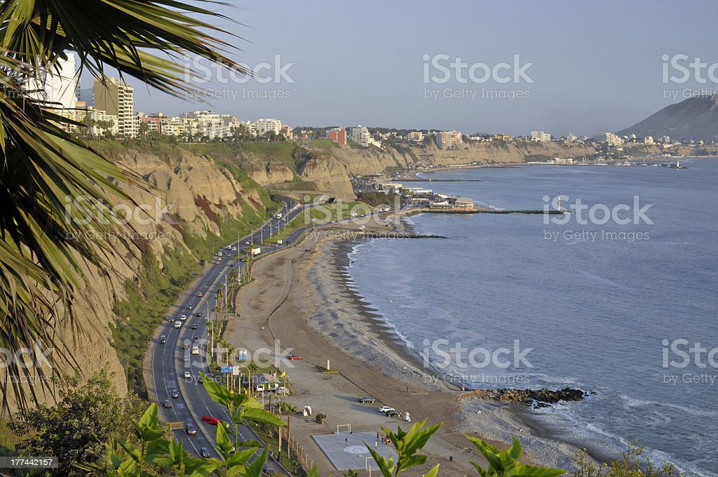 Pacific coastline in Lima, Peru stock photo