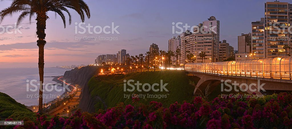 Pacific coastline in Miraflores, Lima, Peru stock photo
