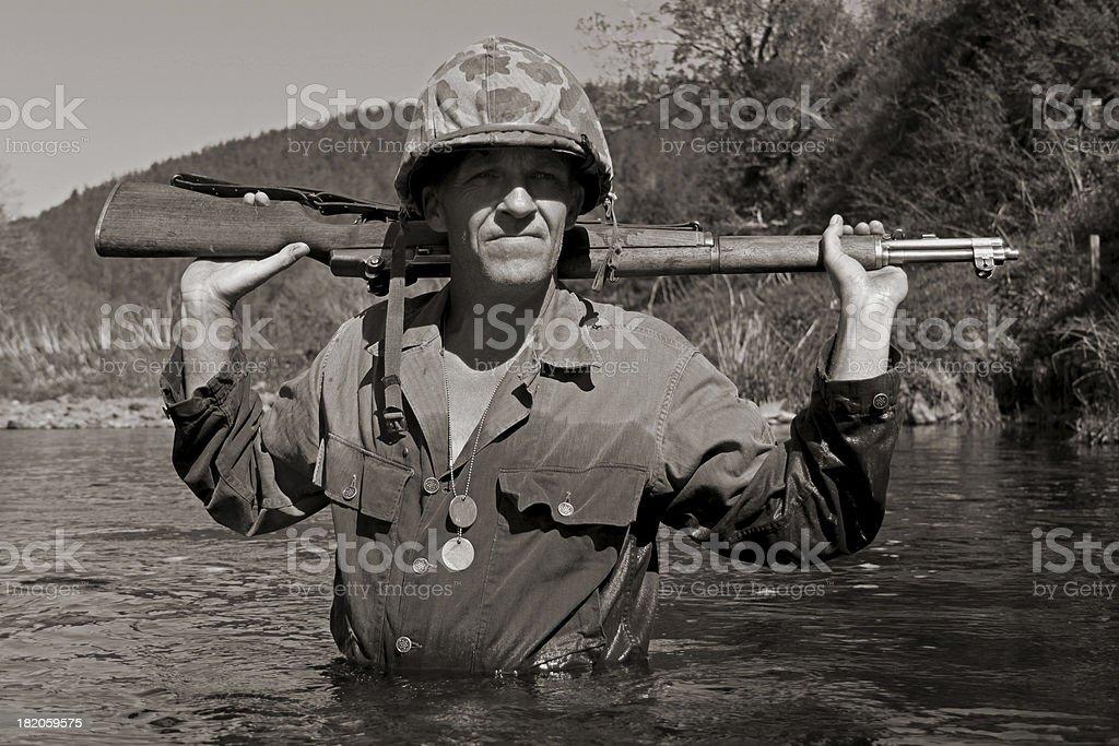 WW2 Pacific Marine. stock photo