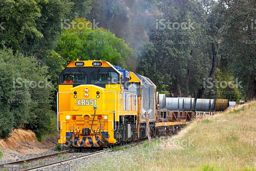 Pacific National Long Island steel train near Frankston stock photo