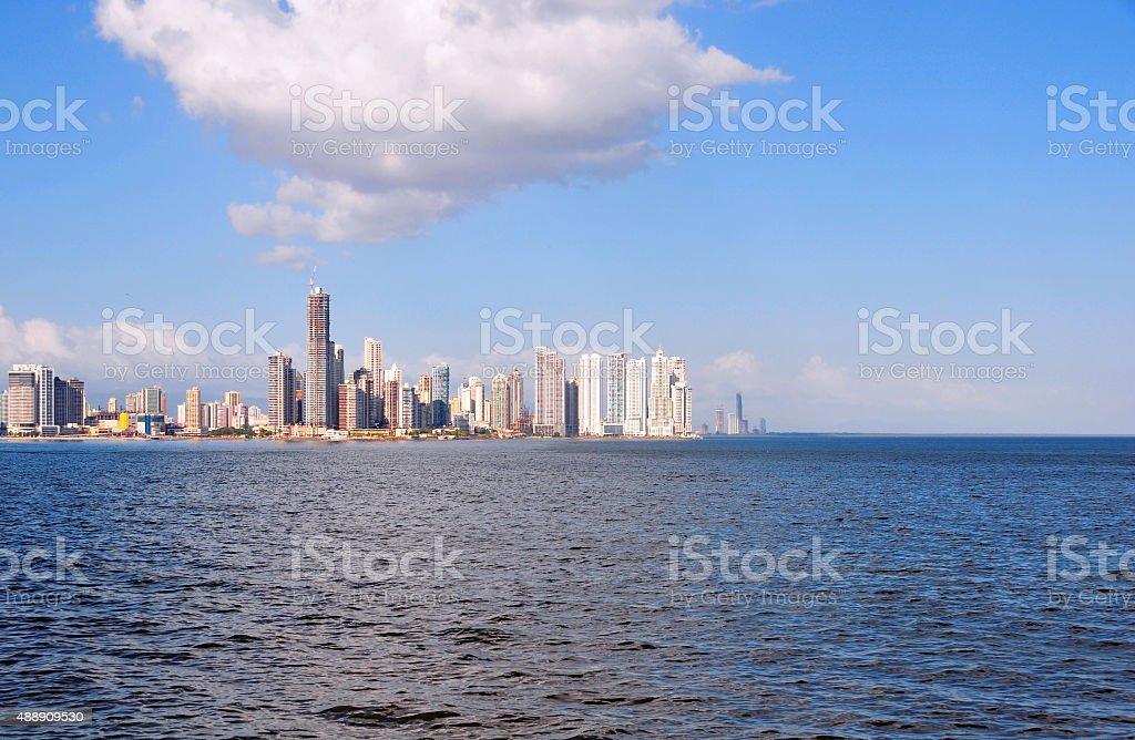 Pacific Ocean and Panama city stock photo