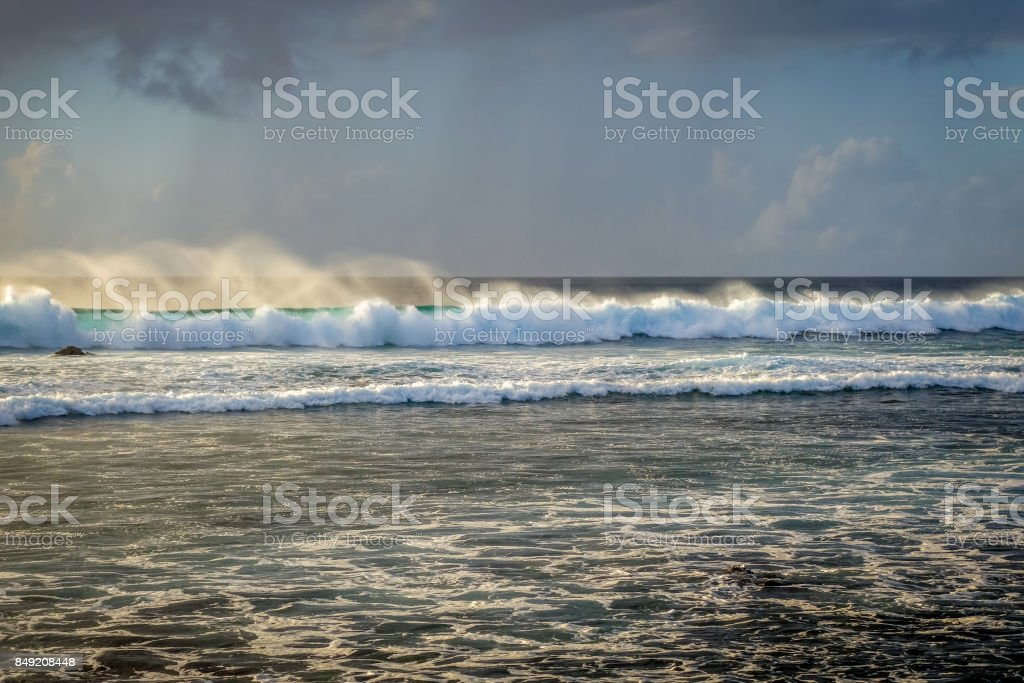 Pacific ocean at sunset on Easter Island stock photo