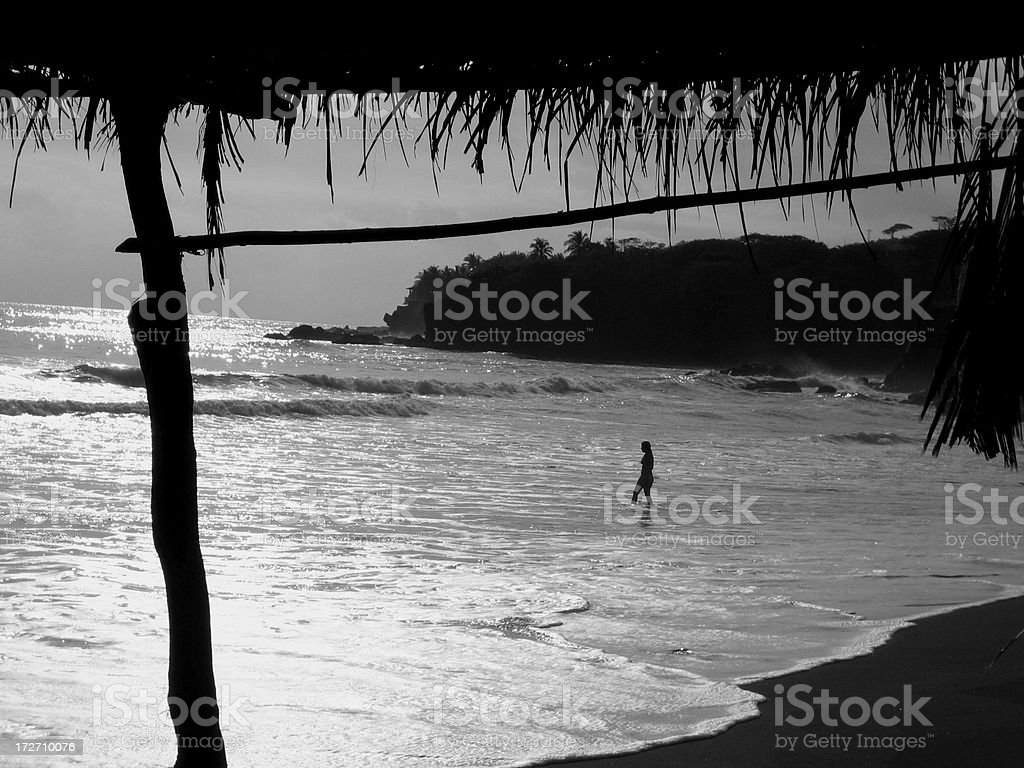 Pacific Ocean Beach in El Salvador stock photo