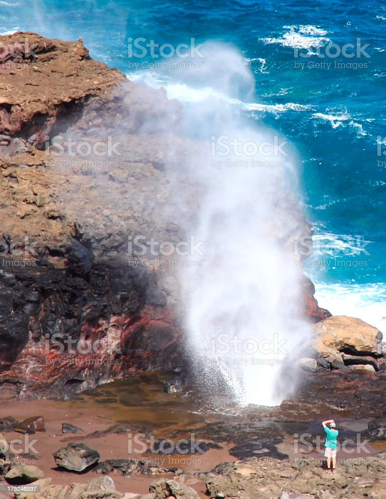 Pacific Ocean blowhole on Maui Hawaii royalty-free stock photo