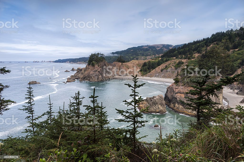 Pacific ocean coast from Arch Rock viewpoint in Oregon stock photo
