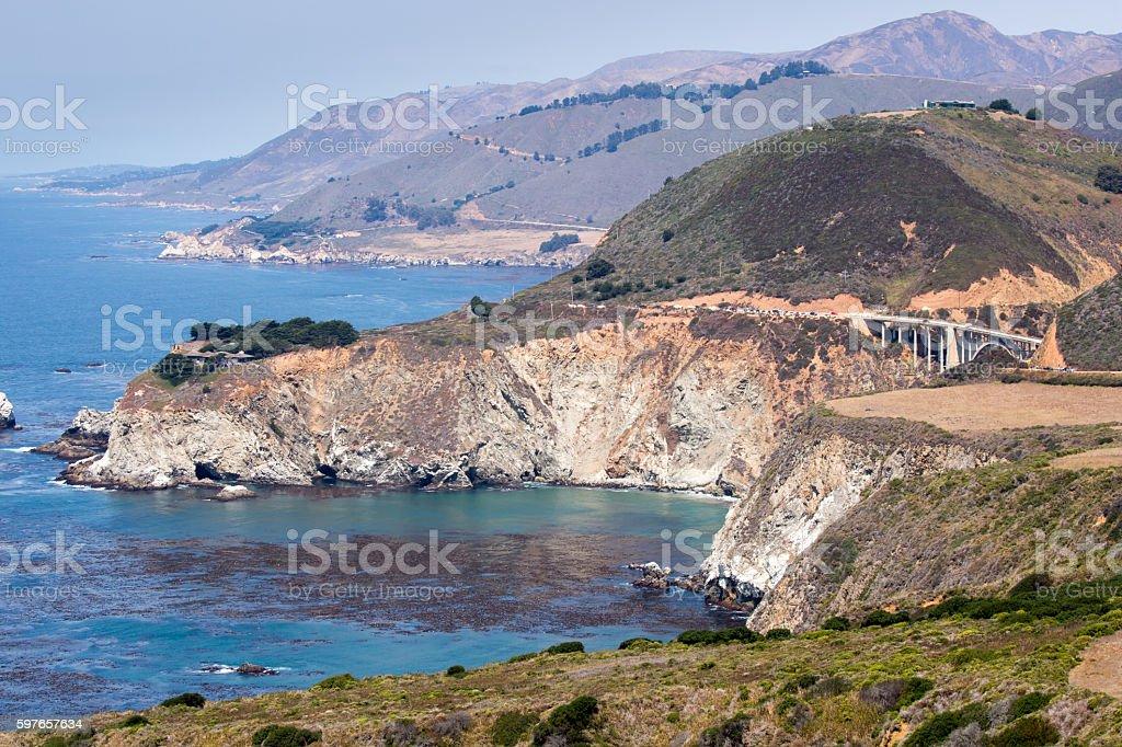Pacific Ocean Coastline and Bixby Bridge, Big Sur, California, USA stock photo
