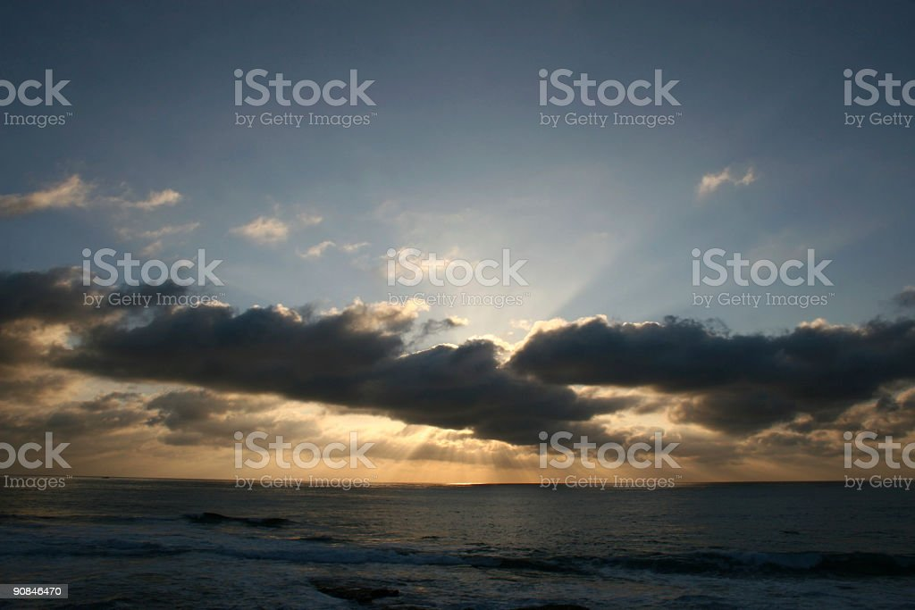 Pacific Ocean Dramatic Sunset royalty-free stock photo