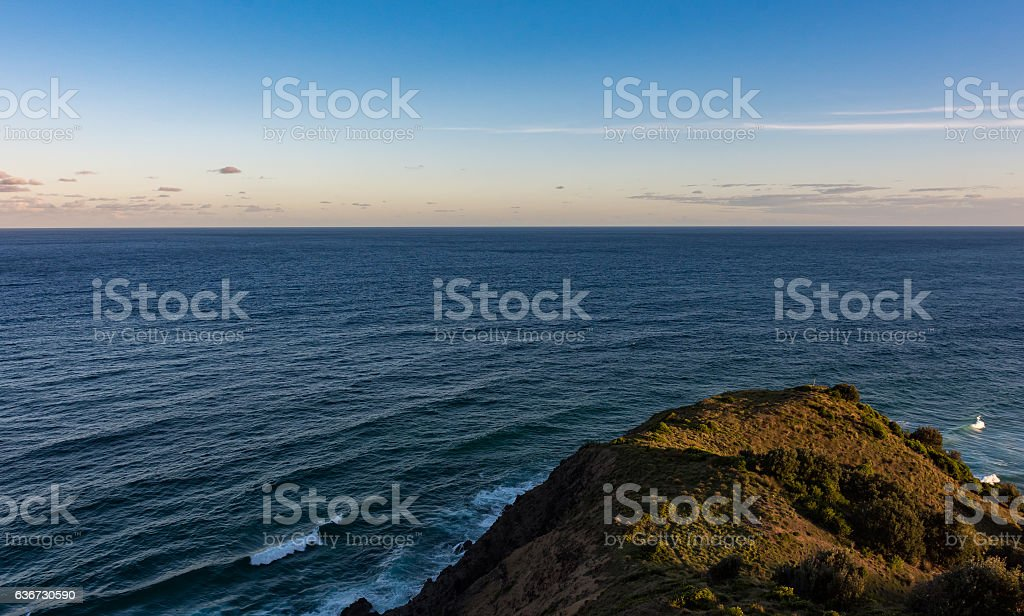 Pacific Ocean from Cape Byron in Australia at sunset stock photo