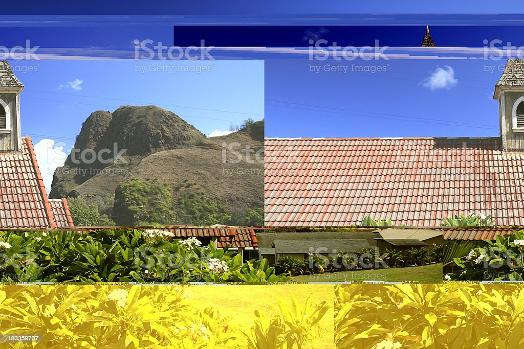 Pacific ocean front Church and plumeria on Maui Hawaii royalty-free stock photo