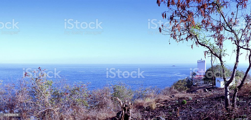 Pacific Ocean Lighthouse at  Zihuatanejo, Mexico stock photo