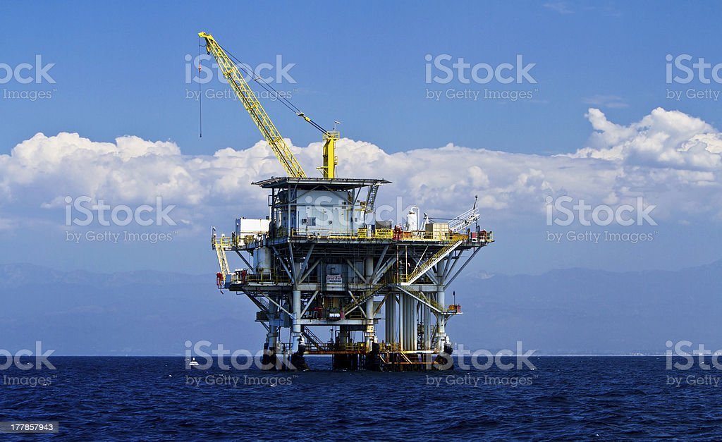Pacific Ocean offshore oil rig drilling platform, California royalty-free stock photo