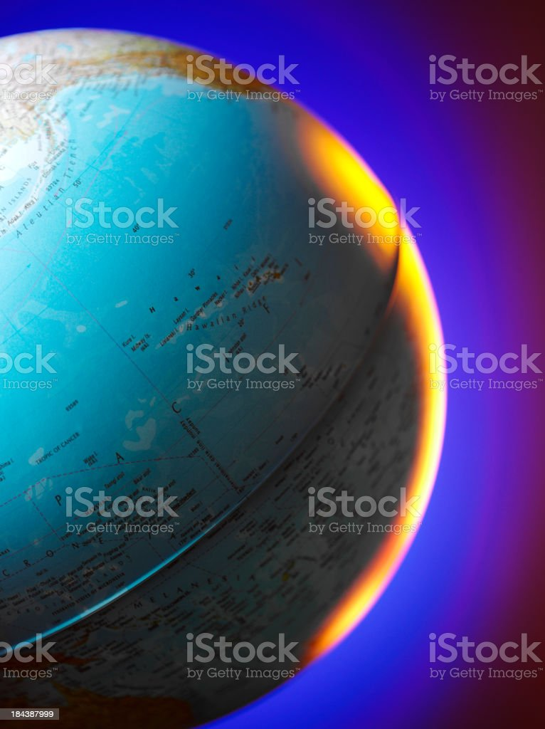Pacific Ocean on a World Globe royalty-free stock photo