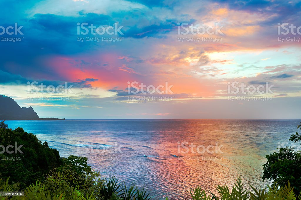 Pacific Ocean Sunset stock photo