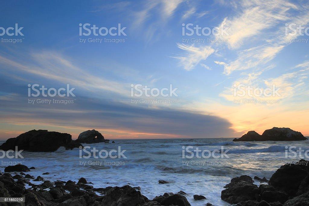 Pacific Ocean Sunset, Sutro Baths, San Francisco, California stock photo