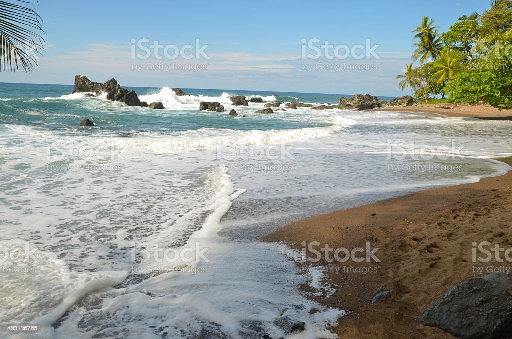 Pacific Ocean waves and beach stock photo