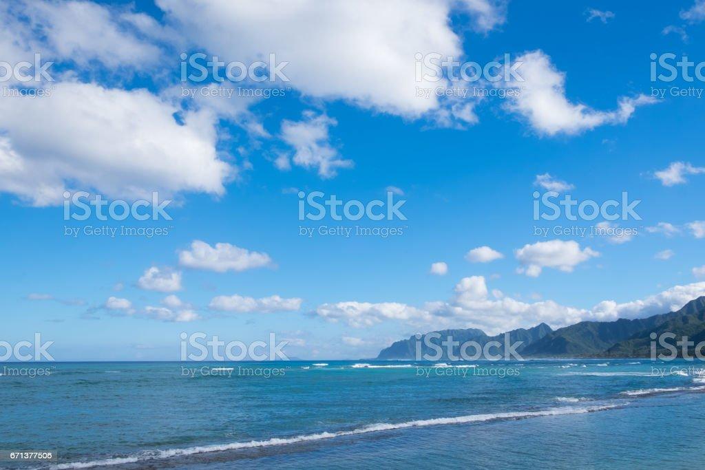 Pacific Ocean Windward Side of Oahu Hawaii stock photo