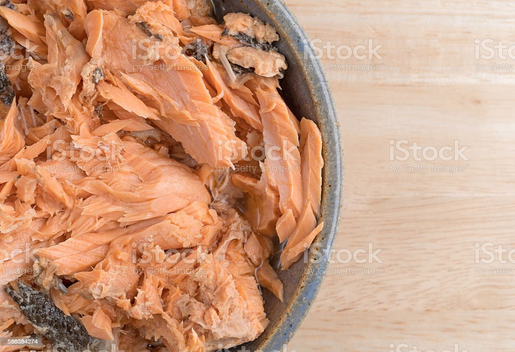 Pacific pink salmon in an bowl on a table stock photo