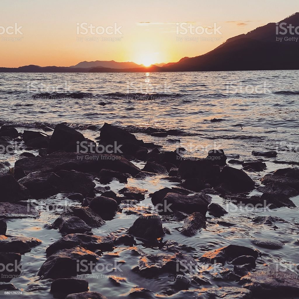 Pacific Rim Sunet on Vancouver Island Kennedy Lake BC Canada stock photo