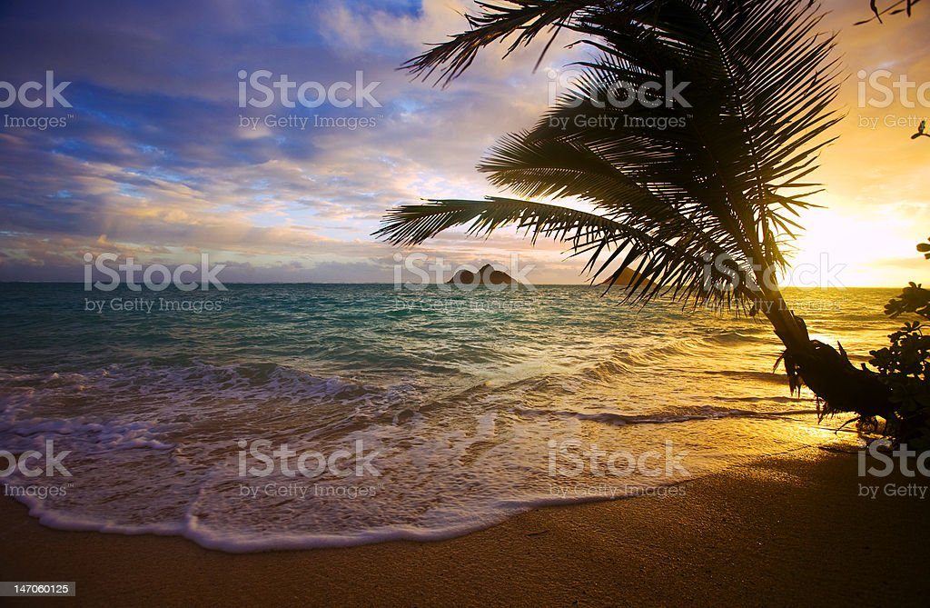 Pacific sunrise at Lanikai beach in Hawaii stock photo