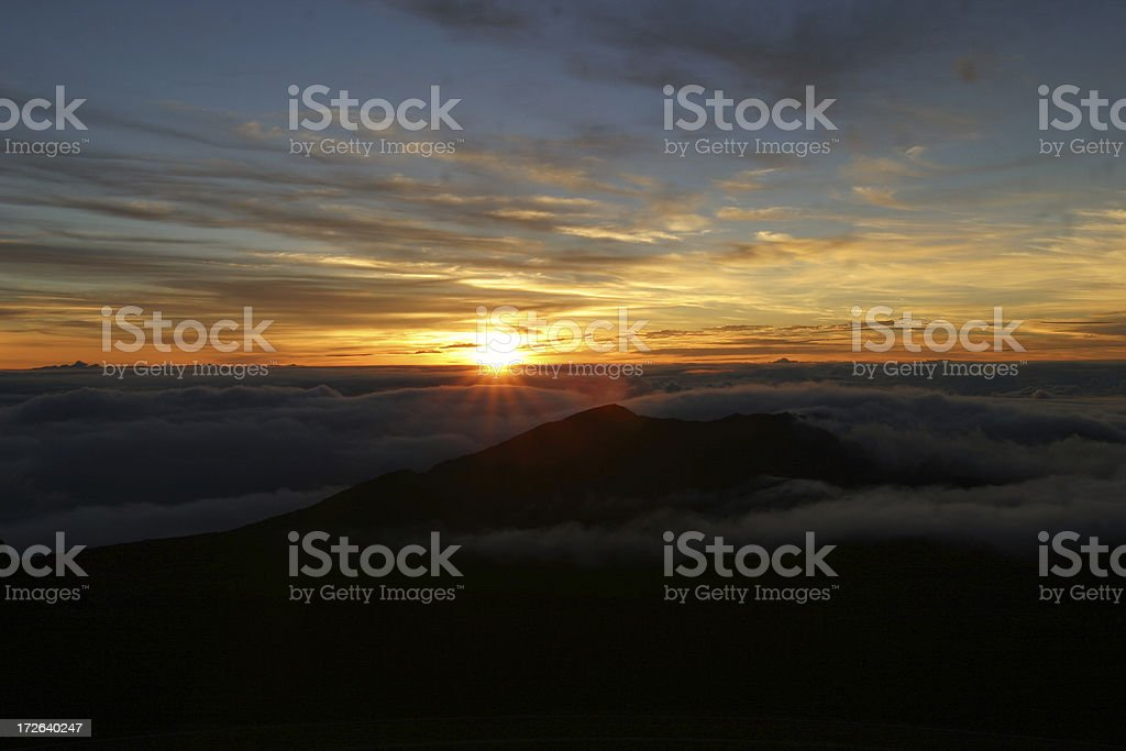 Pacific Sunrise over volcano royalty-free stock photo