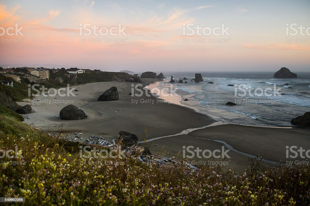 Pacific sunset in Oregon stock photo