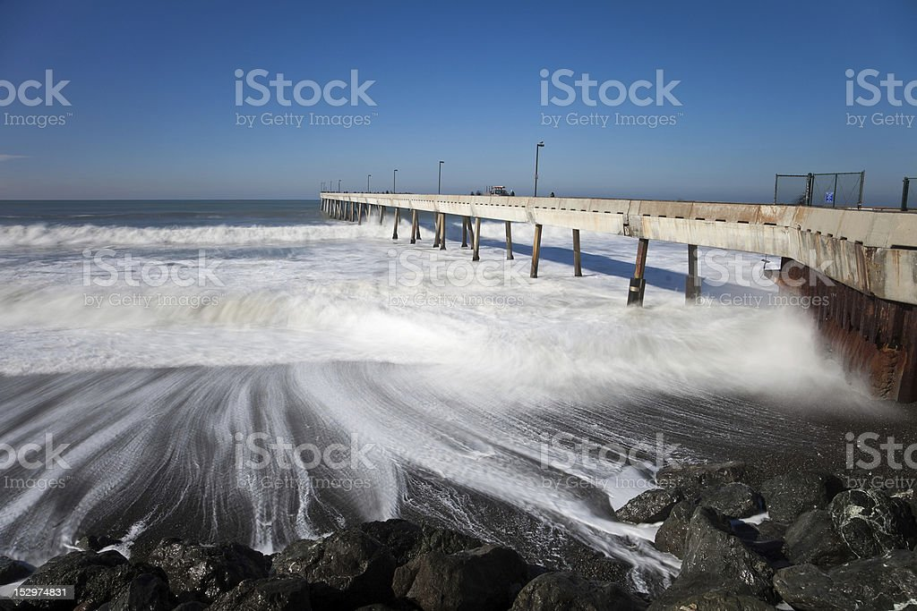 Pacifica Pier on a sunny day. stock photo