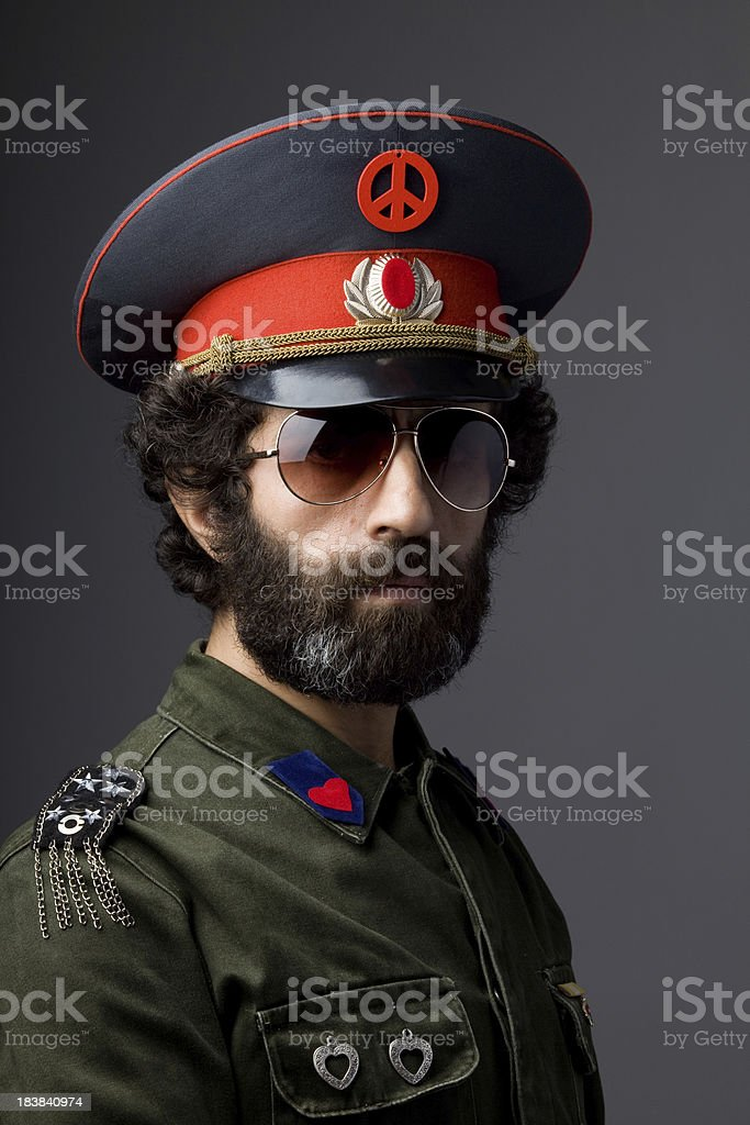 Pacifist general in military officier uniform stock photo